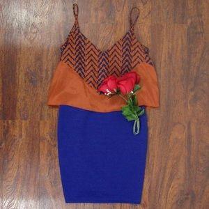 NWT orange and blue dress Size Small